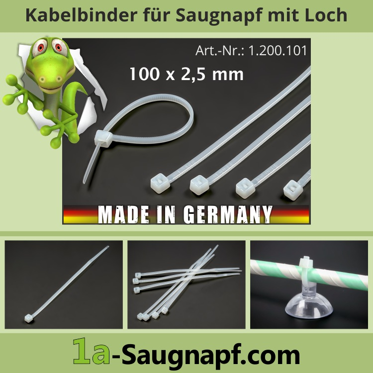 Kabelbinder 100x2,5mm für Saugnäpfe mit Loch Bohrung Industriequalität