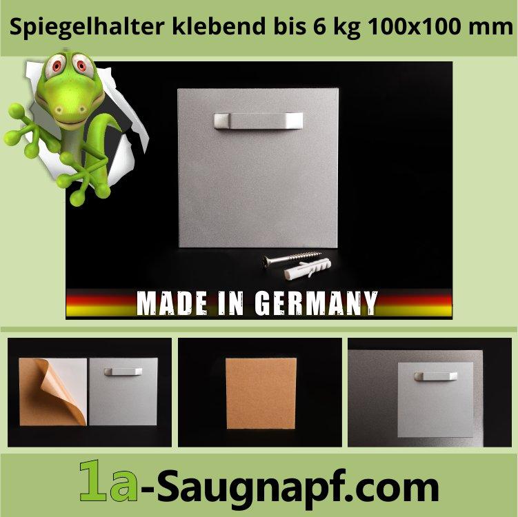 Spiegelhalter klebend bis 6 kg | 100x100 mm | Spiegelblech | Haftblech