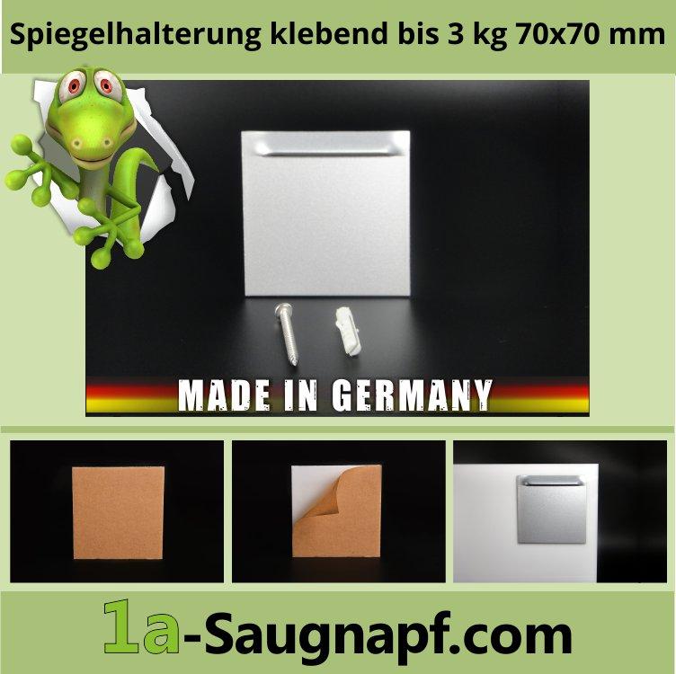 Spiegelhalterung Kieme bis 3 kg | selbstklebend | Ösenbleche 70 x 70 mm