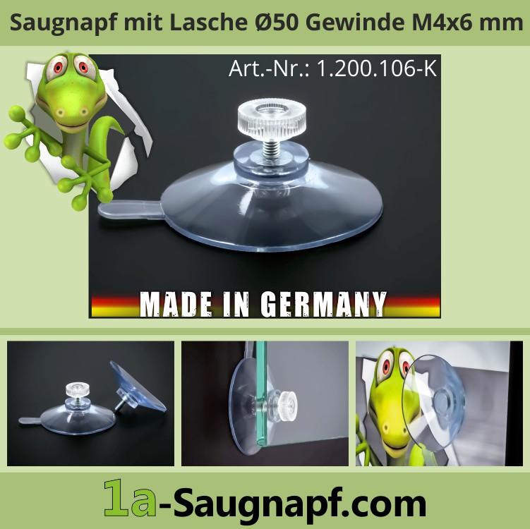 Saugnäpfe 50mm mit Abziehlasche + Gewinde M4x6mm + Mutter klar | Saugnapf | Nummernschild | Autorollos