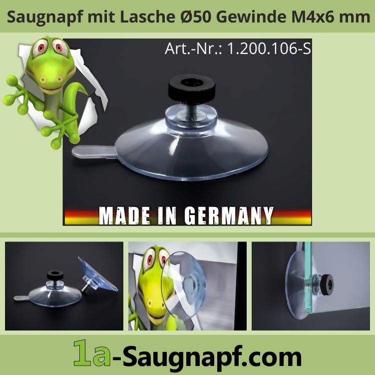 Saugnäpfe 50mm mit Lasche + Gewinde 6mm + Mutter schwarz M4 | Saugnapf