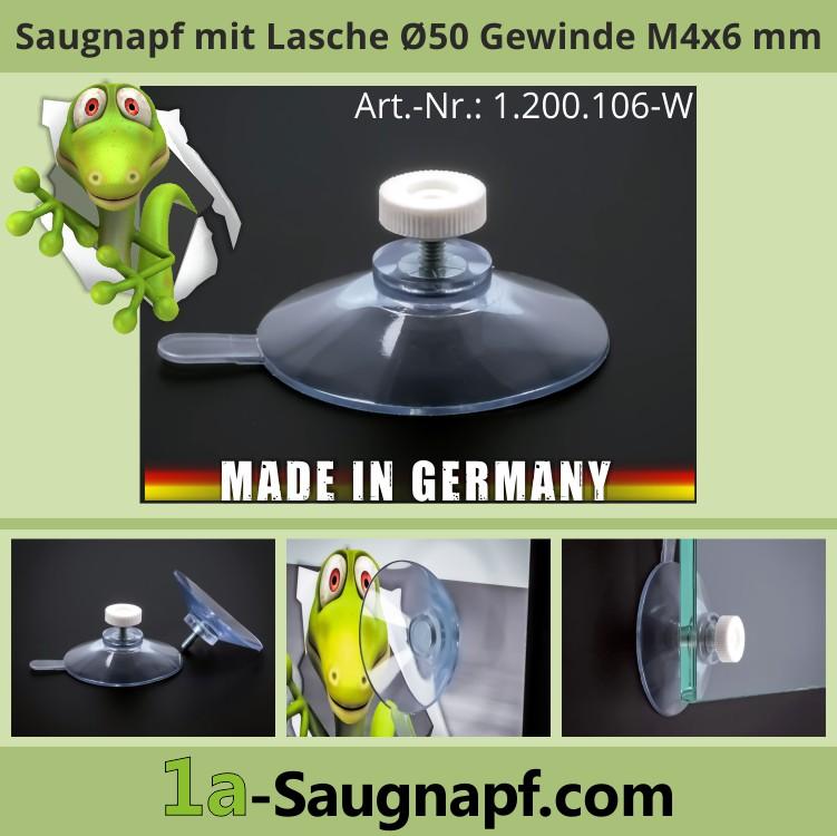Saugnäpfe 50 mm mit Ablöselasche + Gewinde M4x6mm | Saugnapf | Auto