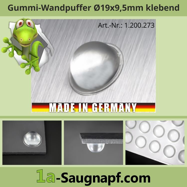 Gummi-Wand-Tür-Puffer Ø 19 mm WA 9,5 mm | selbstklebend | Schutz | klar