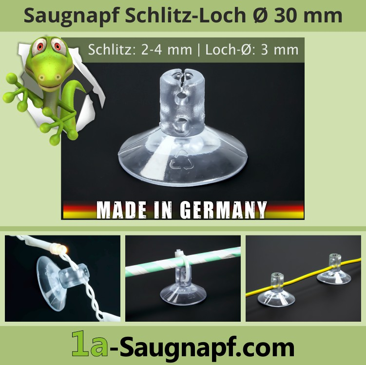 Saugnäpfe 30mm Bohrung | Schlitz | Lichterketten | Kabel | Kabelbinder