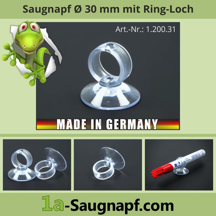 Saugnapf 30 mm Ring-Loch | Zahnbürstenhalter | Rasierer | Saugnäpfe