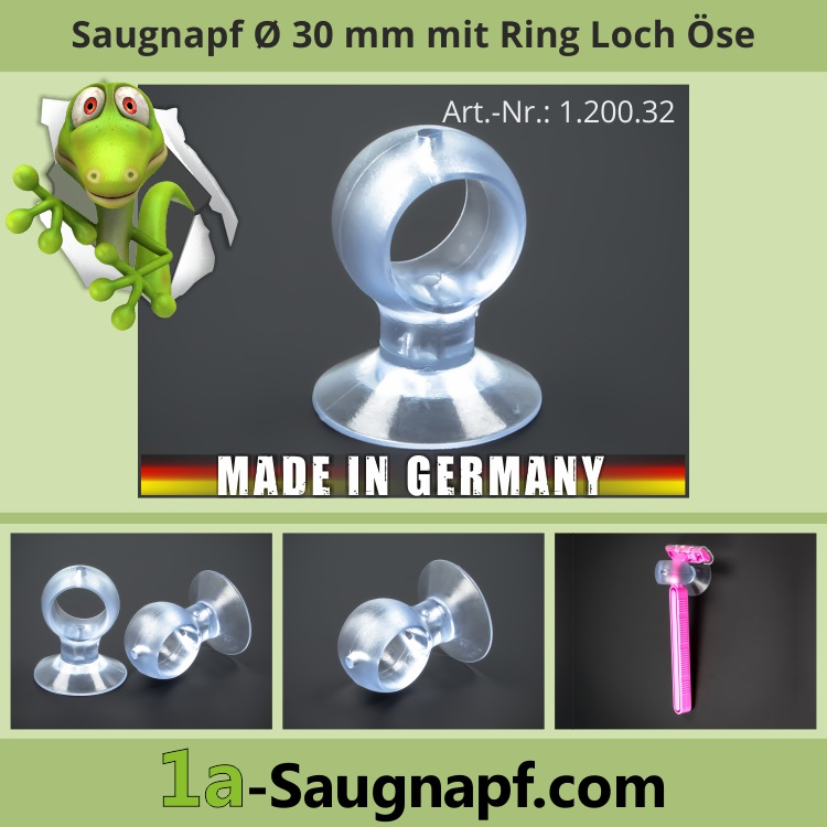 Saugnapf 30 mm Ring-Loch | Kragen | Rasierer | Stifte | Saugnäpfe