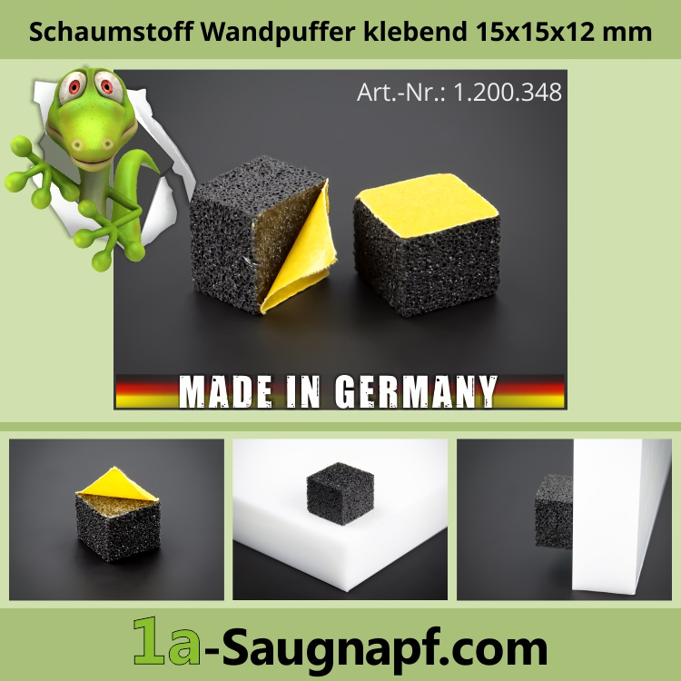 Lieferumfang: Schaumstoff-Wandpuffer klebend | Wandpuffer 15 x15 mm WA: 12 mm | schwarz