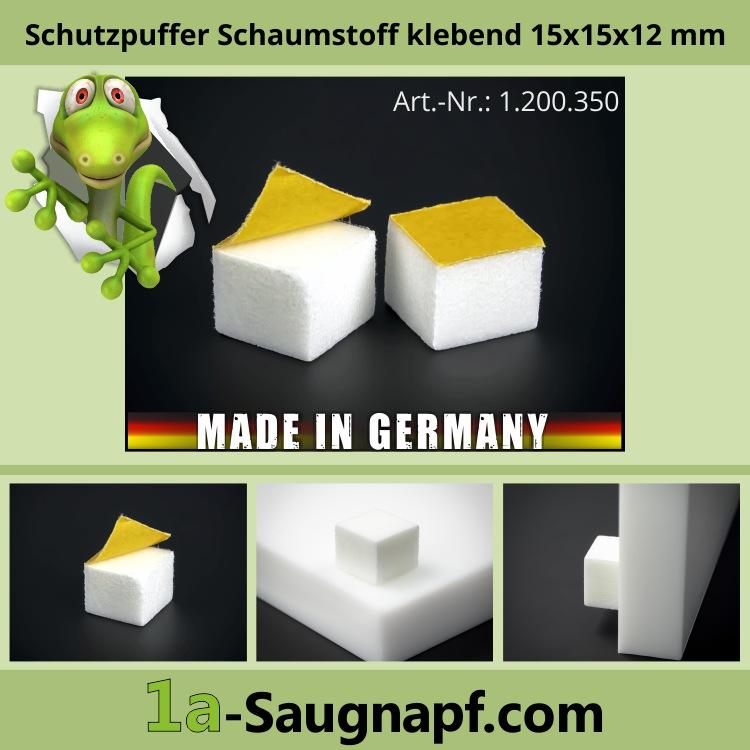 Schutzpuffer Schaumstoff klebend | Wandpuffer 15 x15 mm WA: 12 mm | Weiß