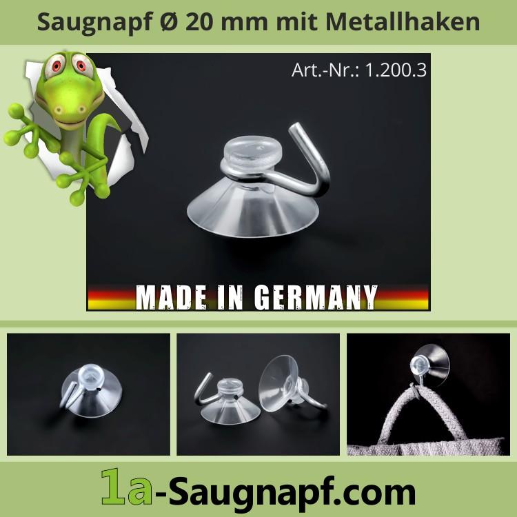 Saugnapf 20 mm mit Haken aus Metall | Saughaken | Saugnäpfe