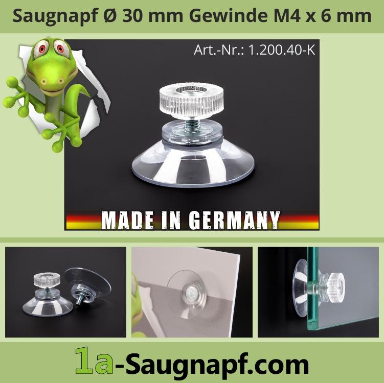 Saugnäpfe 30 mm mit Gewinde-Schraube M4x6 mm + Mutter klar | Saugnapf