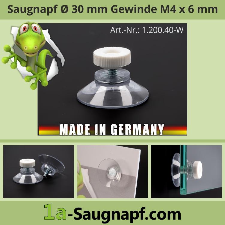 Saugnäpfe 30 mm mit Gewindeschraube 6 mm M4 + Mutter weiß | Saugnapf