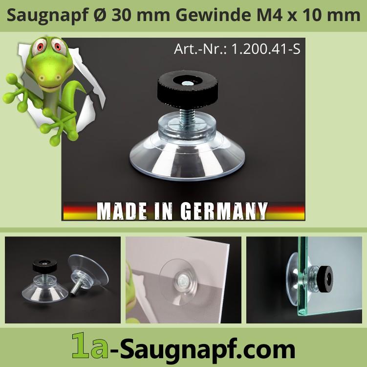 Saugnäpfe 30 mm Gewinde M4x10 mm + Rändelmutter schwarz | Haftsauger