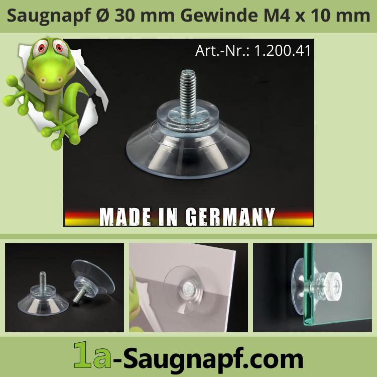 Saugnäpfe 30 mm mit Gewinde M4x10 mm Haftsauger Saugnapf Gummisauger