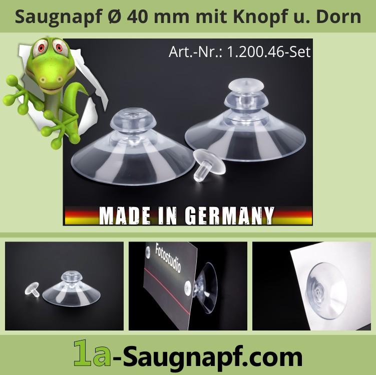 Saugnapf mit Knopf und Dorn