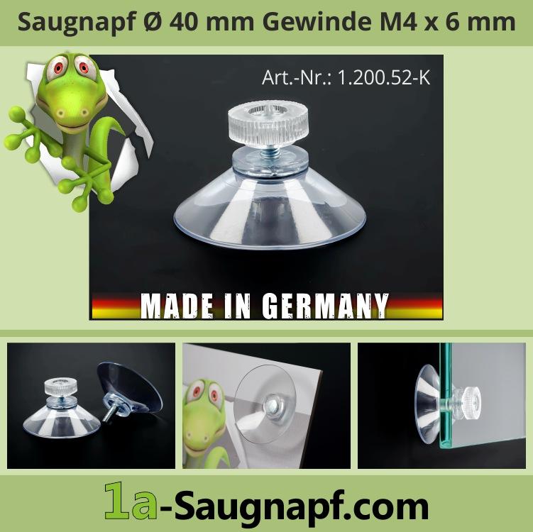 Saugnäpfe 40 mm mit Gewinde 6 mm M4 + Rändelmutter klar | Saugnapf | Sauger