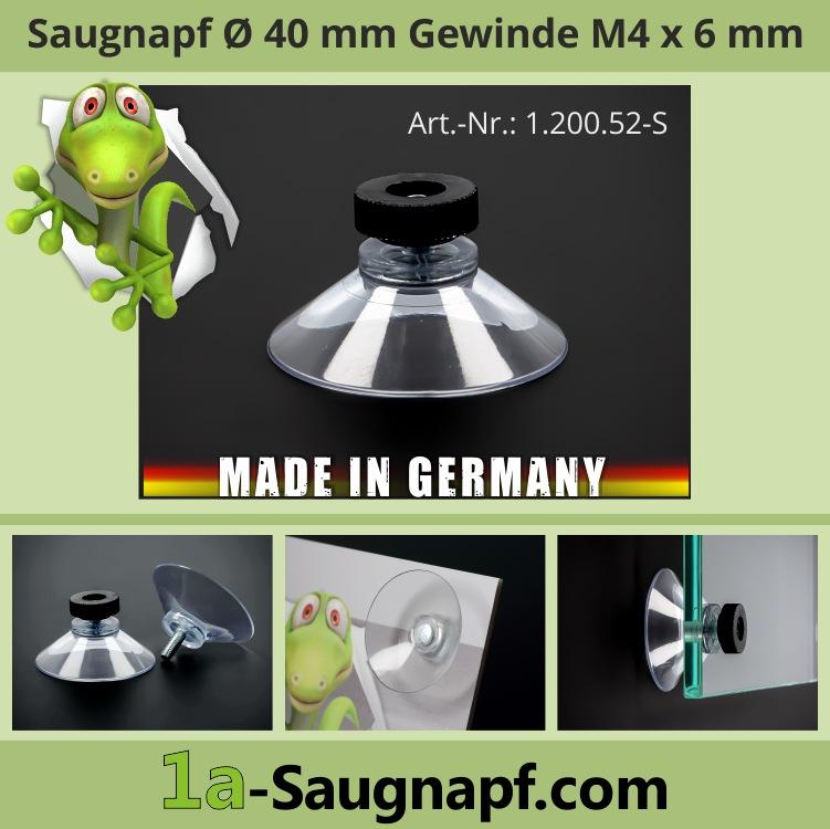 Saugnäpfe 40 mm mit Gewinde M4x6 mm + Rändelmutter schwarz | Saugnapf