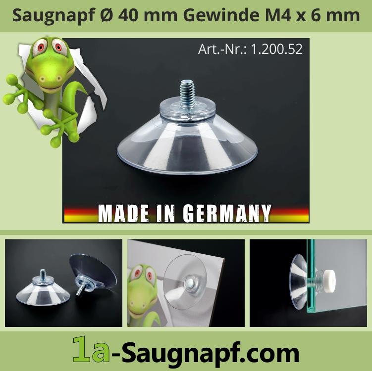 Saugnäpfe 40 mm mit Gewinde 6 mm | M4 | Saugnapf | Gummisauger