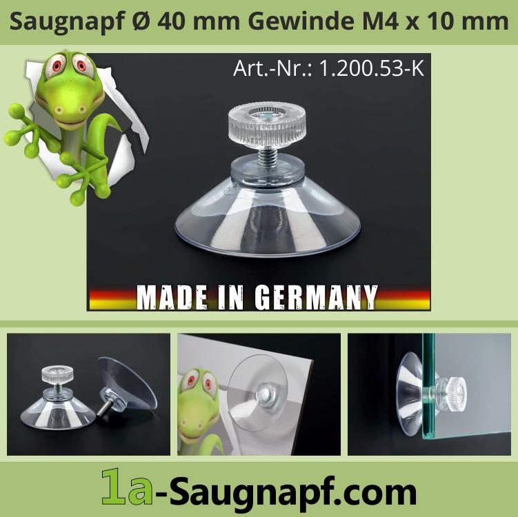 Saugnäpfe 40 mm mit Gewinde M4x10 mm + Rändelmutter klar | Saugnapf für Schilder | Auto-Sonnen-Schutz
