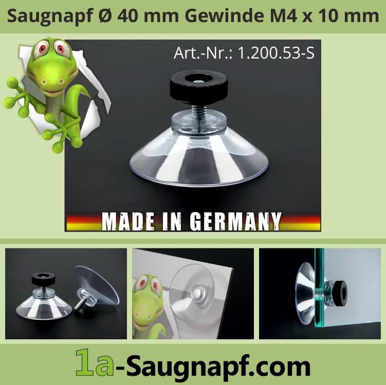 Saugnäpfe 40 mm Gewinde M4x10mm + Rändelmutter schwarz | Saugnapfhalter | Nummernschildbefestigung | Autosonnenschutz