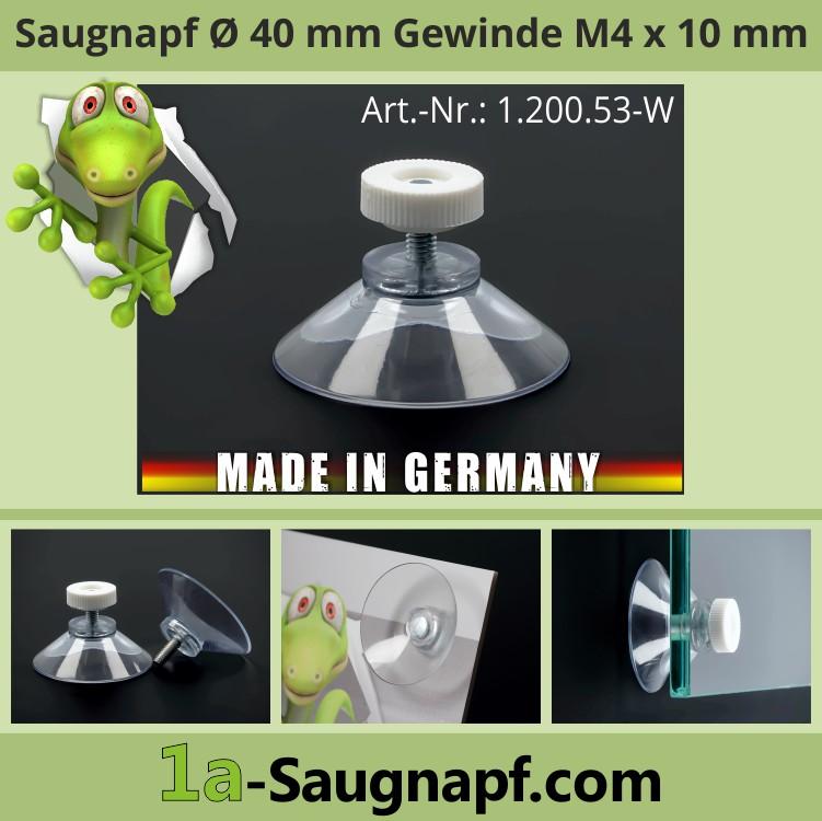 Saugnäpfe 40 mm Gewinde M4 x 10 mm + Rändelmutter weiß | Saugnapf | Nummernschild Kennzeichen im LKW zu befestigen
