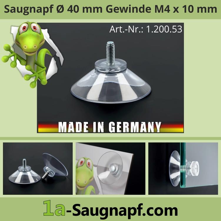 Saugnäpfe 40mm mit Gewinde M4x10 mm | Sauger | Saugnapfbefestigung