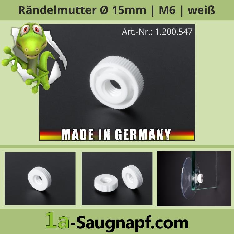 Rändelmutter M6 Gewinde Schraube für Saugnäpfe | weiß