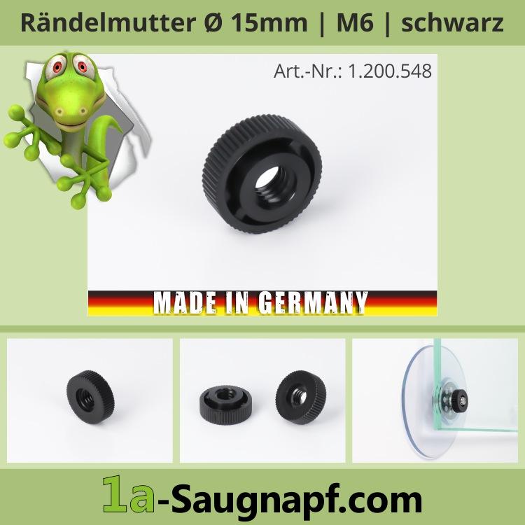 Rändelmutter M6 Gewinde Schraube für Saugnäpfe | schwarz