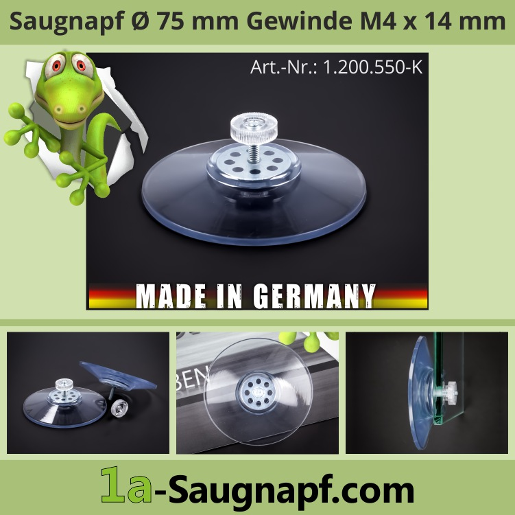 Saugnapf 75mm Gewinde M4x14mm Saugnäpfe bis 10kg Mutter transparent