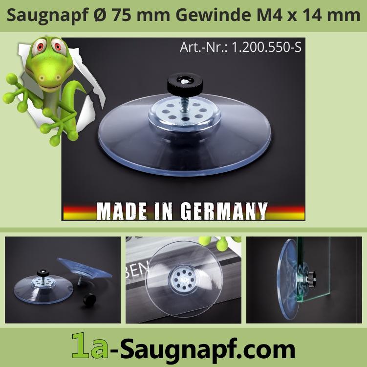 Saugnapf 75mm Gewinde M4x14mm große Saugnäpfe bis 10kg Mutter schwarz