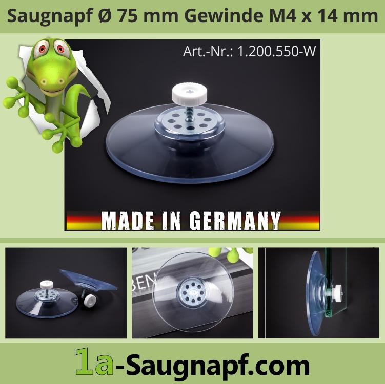 Saugnapf 75mm Gewinde M4x14 mm  große Saugnäpe bis 10kg Rändelmutter weiß