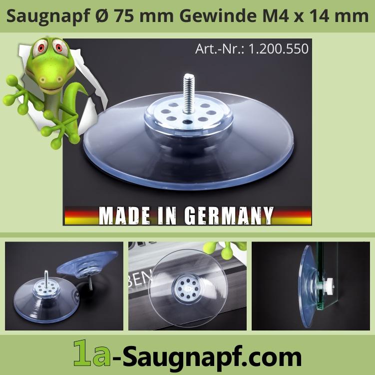 Saugnäpfe 75mm mit Gewinde 14 mm x M4 Saugnapf Sauger groß bis 10 kg