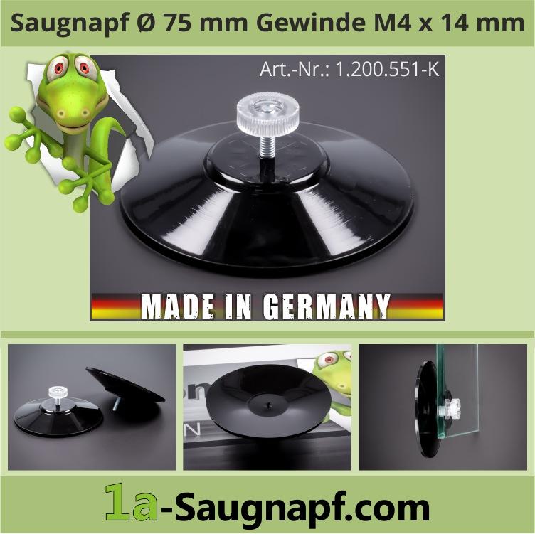 Großer schwarzer Saugnapf 75mm Gewinde M4x14mm bis 10kg + Mutter klar