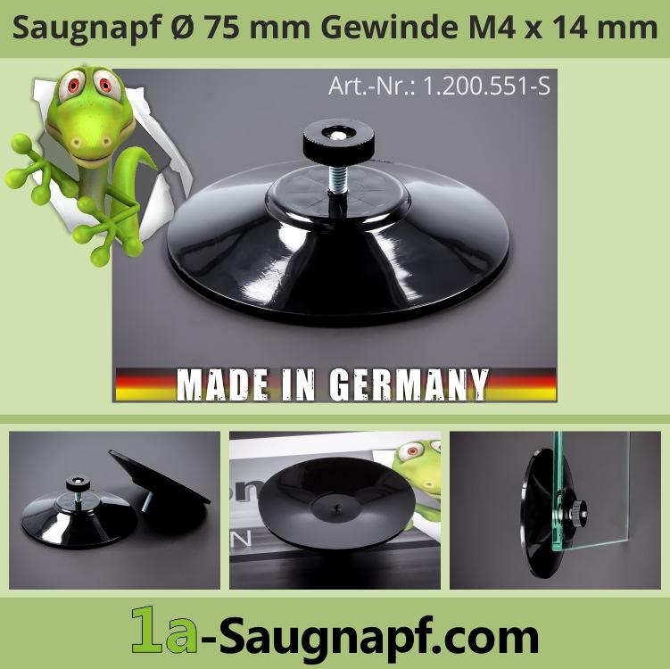 Großer schwarzer Saugnapf 75mm Gewinde M4x14mm bis 10kg + Mutter schwarz