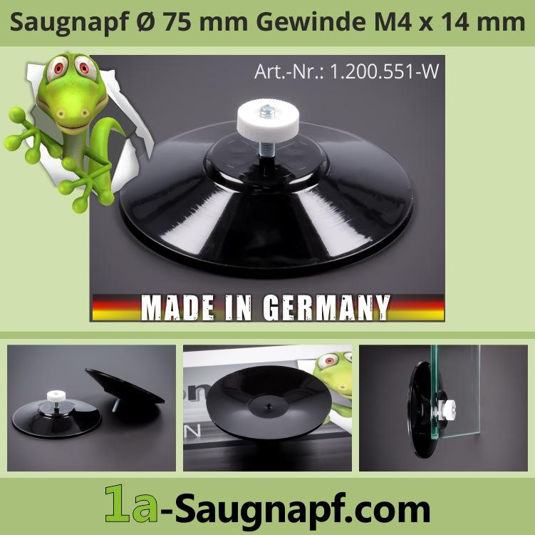Großer schwarzer Saugnapf 75mm Gewinde M4x14 mm bis 10kg + Mutter weiß