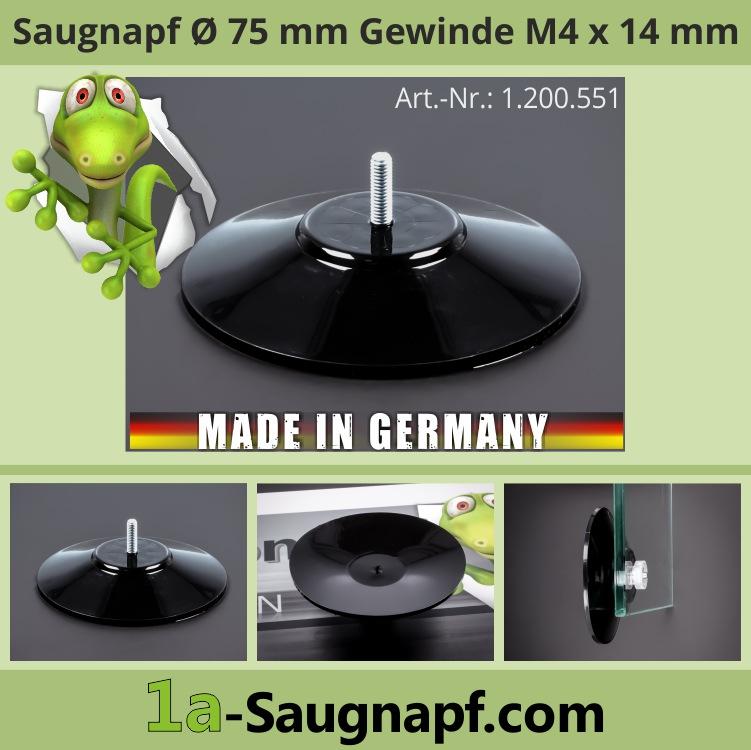 Saugnäpfe 75mm mit Gewinde 14mm x M4 Saugnapf groß bis 10kg | schwarz