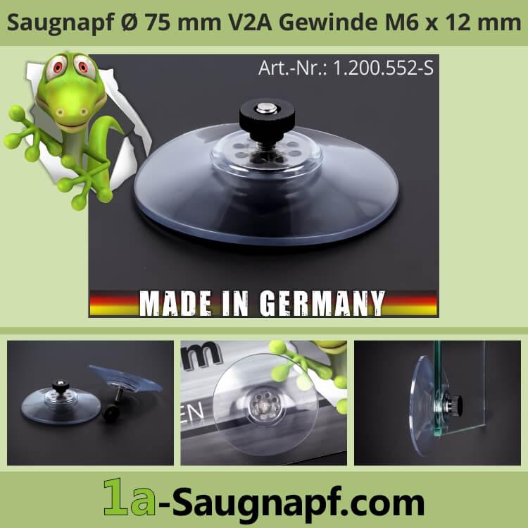 Starker Saugnapf 75mm Edelstahl Gewinde M6x12mm 10kg + Mutter schwarz