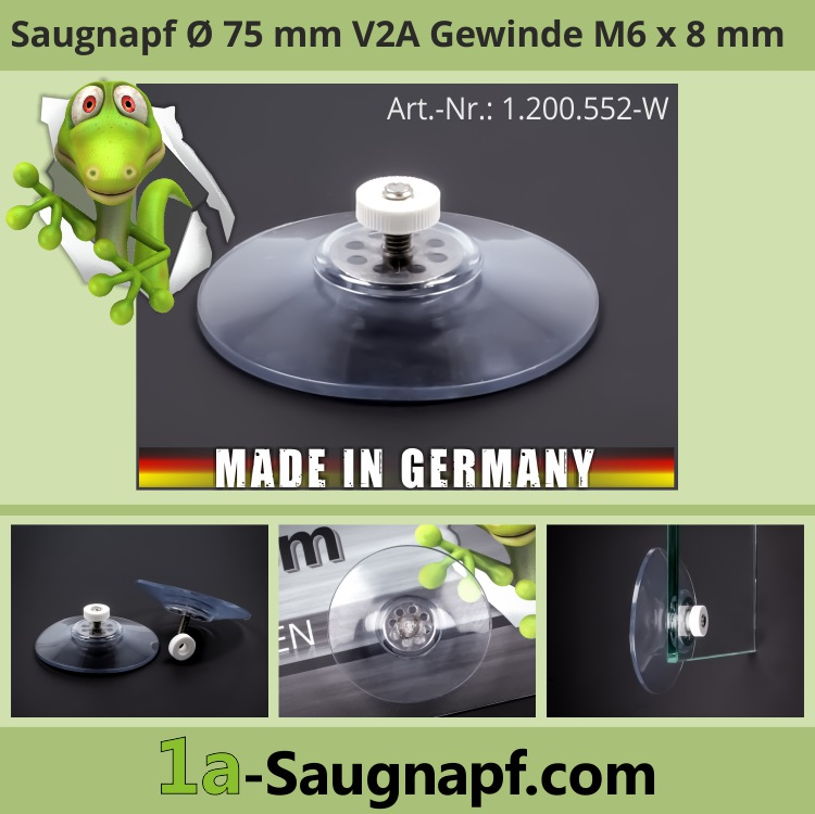 Starke Saugnäpfe 75mm Edelstahl Gewinde M6x12mm bis 10kg + Mutter weiß