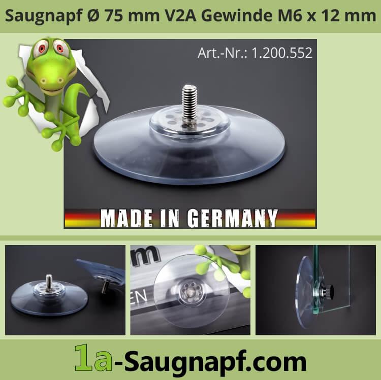Saugnäpfe 75mm mit Edelstahl Gewinde M6x12mm Saugnapf groß bis 10kg