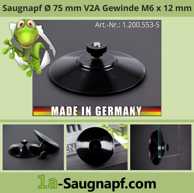Starker schwarzer Saugnapf 75mm V2A Gewinde M6x12mm bis 10kg + Mutter schwarz