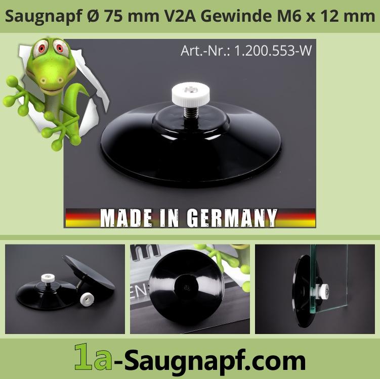Starker schwarzer Saugnapf 75mm V2A Gewinde M6x12mm 10kg + Mutter weiß