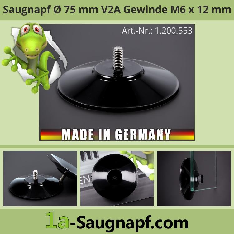 Saugnäpfe 75mm Edelstahl Gewinde M6x12mm groß bis 10kg | schwarz