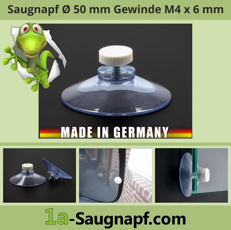 Saugnäpfe 50 mm mit Gewinde M4x6 mm + Rändelmutter weiß | Kennzeichen | Nummernschilder | Sonnenschutzrollo