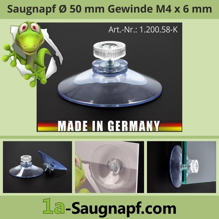 Saugnäpfe 50 mm Gewinde M4x6 mm + Rändelmutter klar | Kennzeichenmontage | Autosonnenschutzrollo