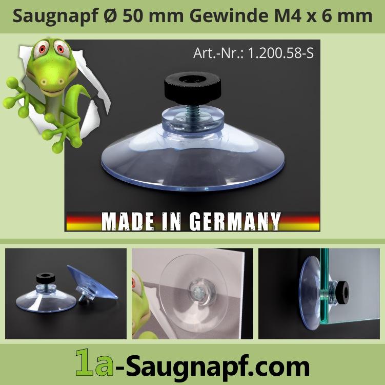 Saugnäpfe 50mm Gewinde 6mm M4+Mutter schwarz Ersatzsaugnapf Autorollo