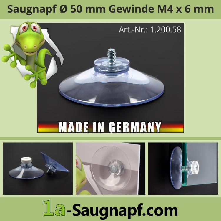 Saugnäpfe 50 mm mit Gewinde 6 mm | M4 | Kennzeichen | Saugnapf | Auto