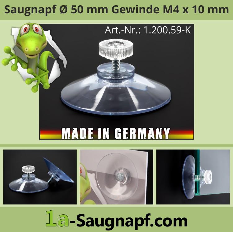 Saugnäpfe 50mm mit Gewinde M4x10mm + Rändelmutter klar | Nummernschild | Kennzecihen | Sonnenschutzrollo