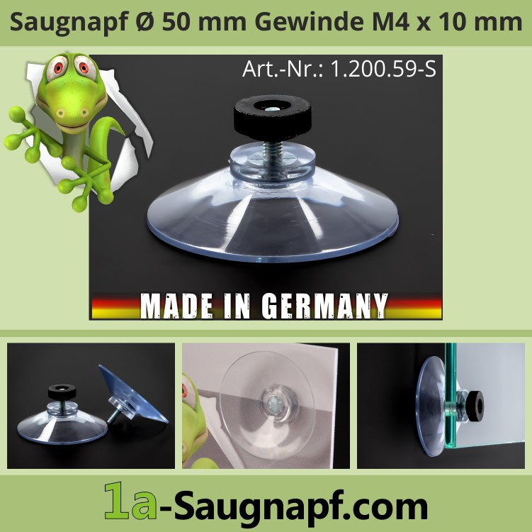 Saugnäpfe 50mm mit Gewinde M4x10 mm + Mutter schwarz | Kennzeichenhalter | Nummernschild | Sonnenschutzrollo