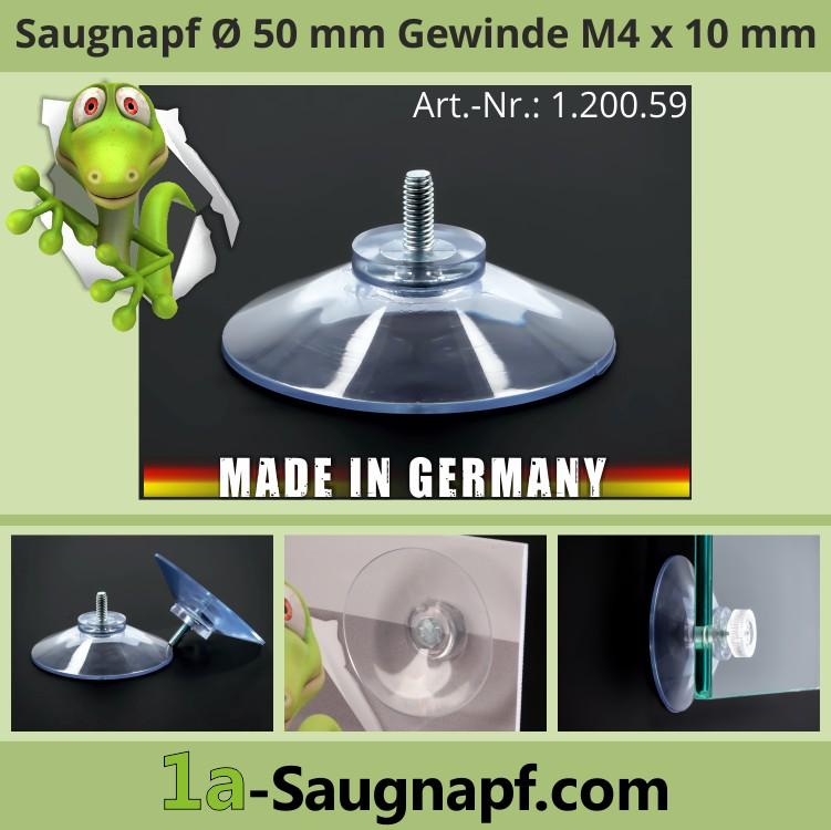 Saugnäpfe 50 mm mit Gewinde 10 mm | M4 | Nummernschild | Saugnapf