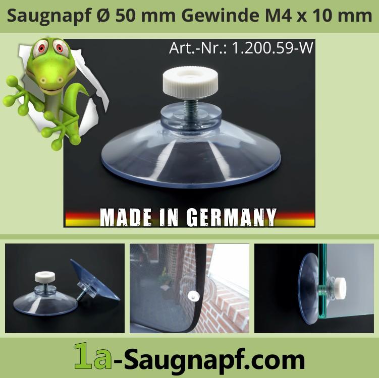 Saugnäpfe 50 mm Gewinde M4x10mm+Mutter weiß | Nummernschildbefestigung | Sonnenschutzrollo