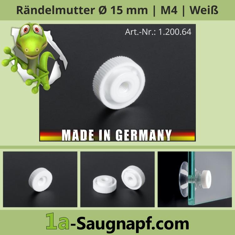 Rändelmutter Ø15mm für M4 Gewinde weiß | Kunststoff Schraube Saugnäpfe